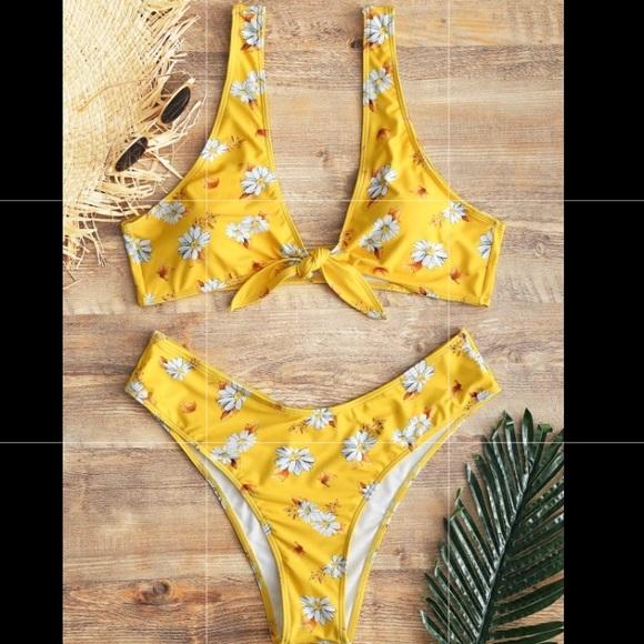 d12b91b955 Yellow daisy tie up bikini. M_5b1b456595199622b7707a50